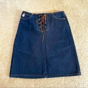 Vintage Guess Lace Up Jean Skirt
